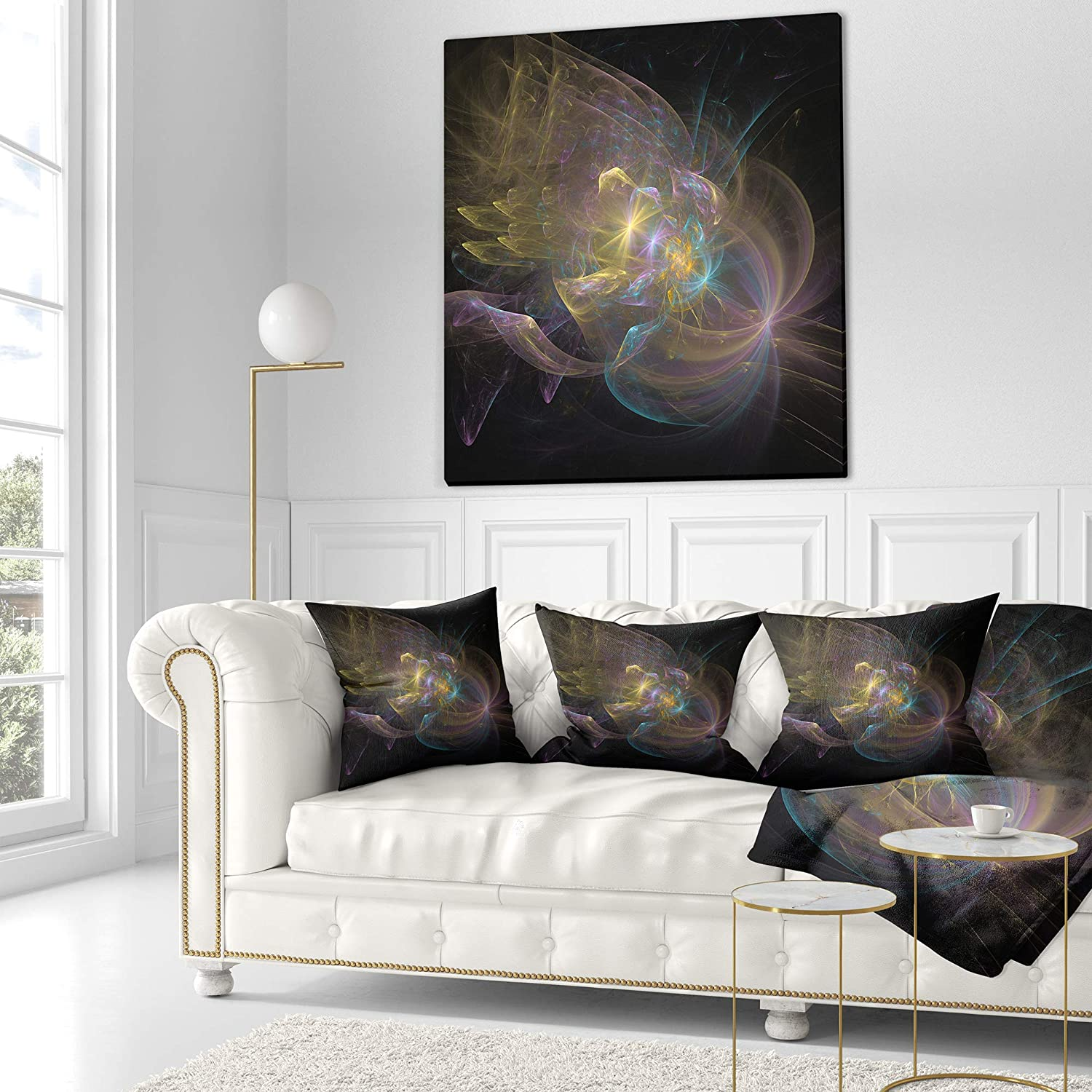 Insert Printed On Both Side Designart CU14480-26-26 Beautiful Slice of Agate on Black Abstract Cushion Cover for Living Room x 26 in Sofa Throw Pillow 26 in in