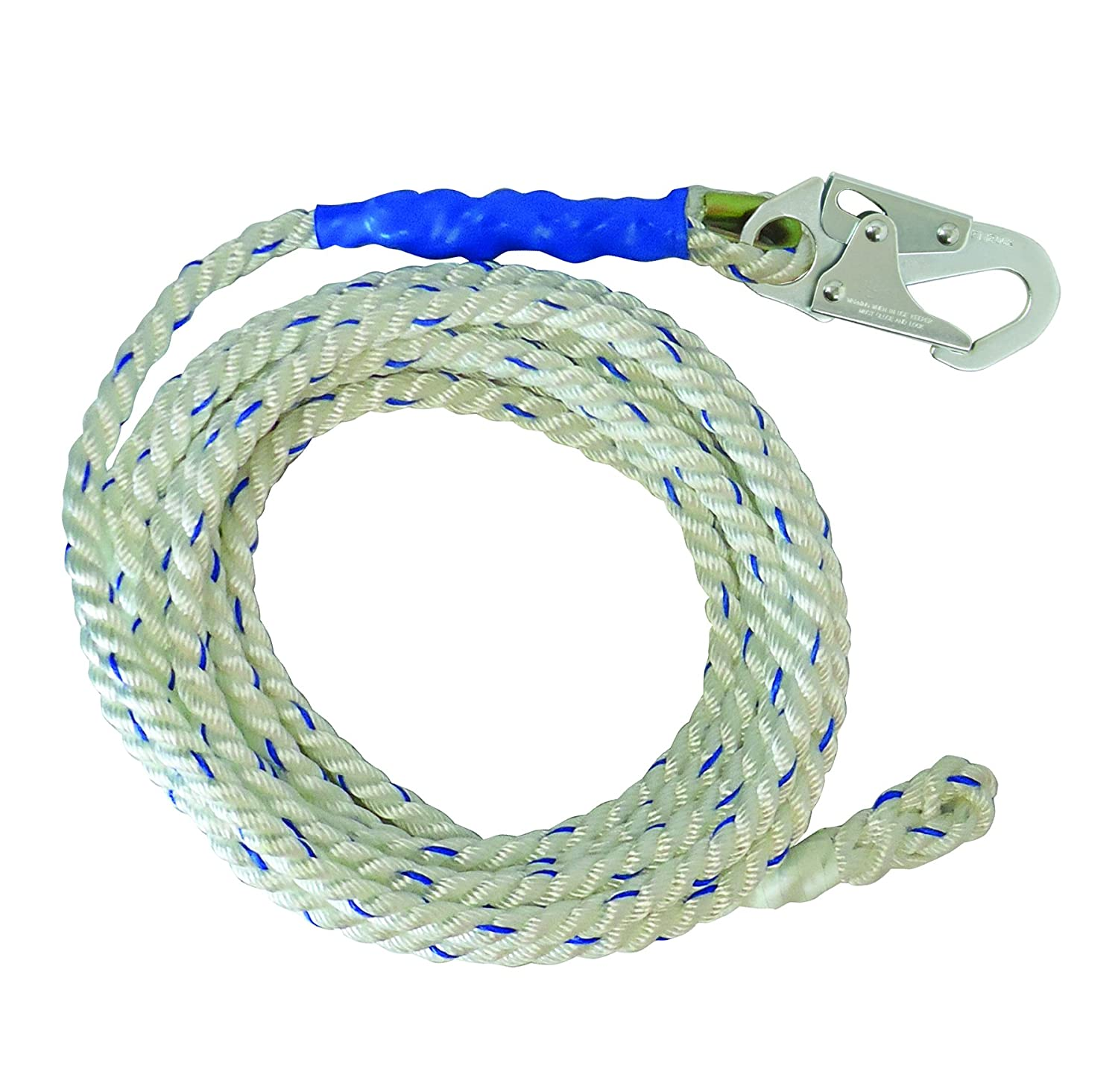 FallTech 81505 Vertical Lifeline, Rope - 5/8 Premium Polyester Rope with 1 Snap Hook and Braid-End, 150', White/Blue by FallTech B014DRJK60