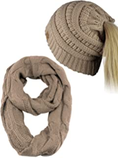 C.C BeanieTail Messy High Bun Cable Knit Beanie and Infinity Loop Scarf Set 4f52a7b60475