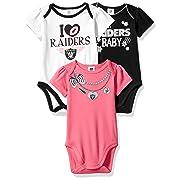 NFL Oakland Raiders Girls Short Sleeve Bodysuit (3 Pack), 3-6 Months, Pink