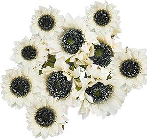 Uieke 10 Pcs Sunflowers Artificial Flowers Faux Silk Sunflowers Bouquet Fake Real Touch Long Stems Floral for Home Vintage Wedding Decor Party Centerpieces Decoration (Autumn White)