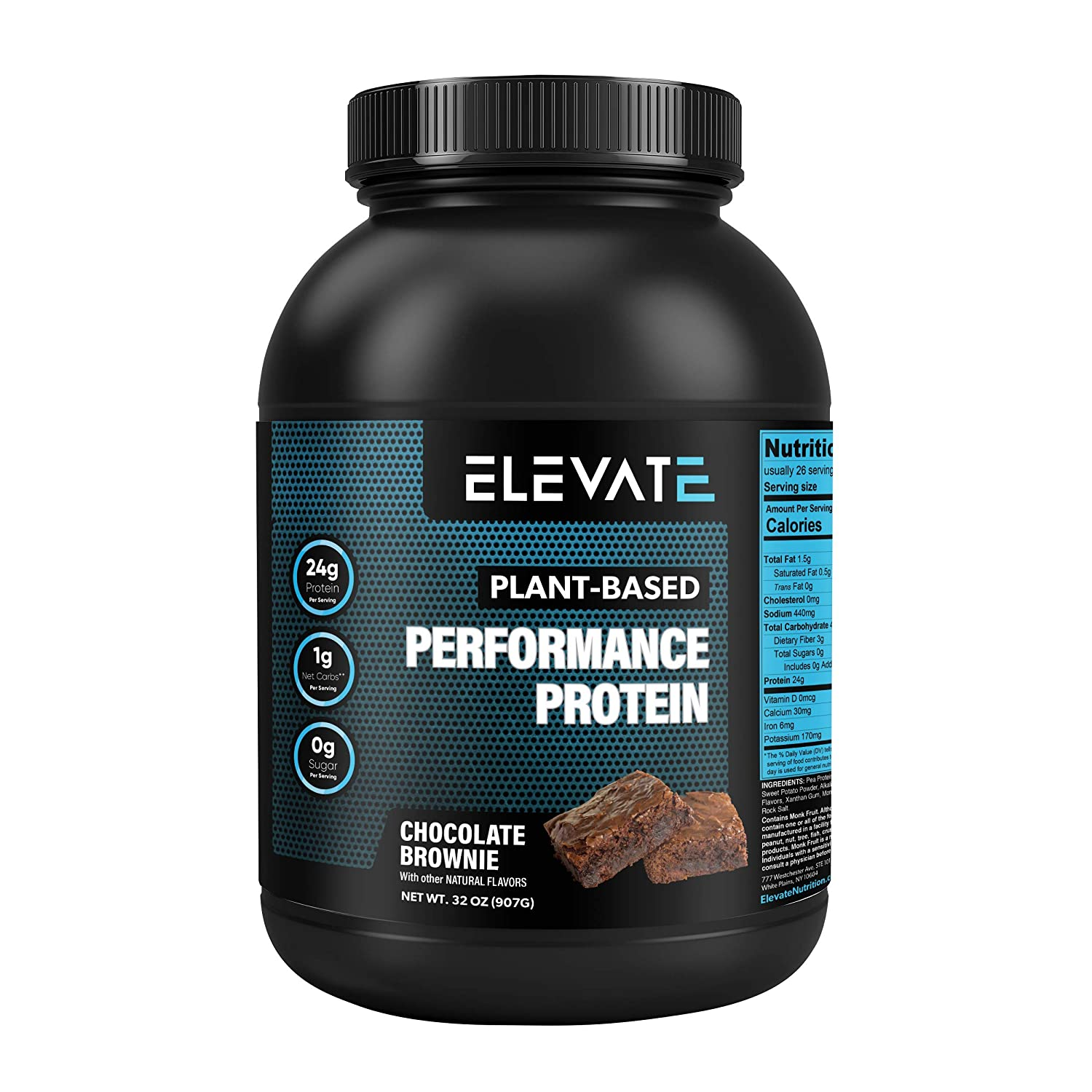 Elevate Nutrition Plant Based Vegan Performance Protein, 26 Servings, Low Carb, NO Sugar, High Protein, High BCAAs, High Glutamine, GMO-Free, Dairy and Soy Free, NO Artificial Chocolate Brownie