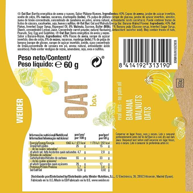 OAT BAR Sabor Plátano, Pack de 20 barritas x 60g, 1200g