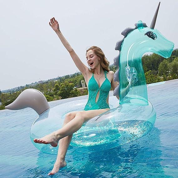 Much-Green Inflable Unicornio Flotador Gigante(Lentejuelas Transparente) Colchoneta Hinchable de la Piscina Juguete Conveniente para Fiesta Piscina de ...