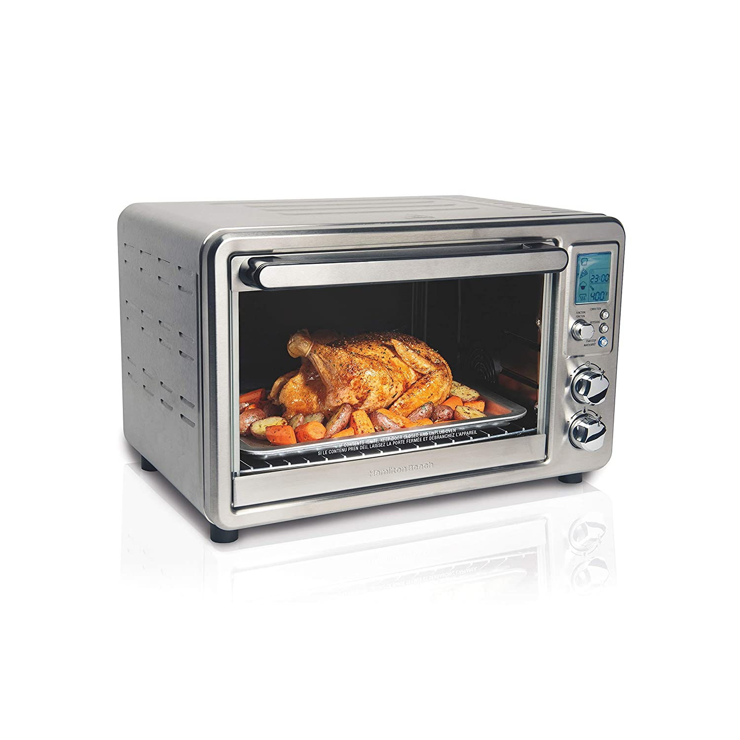 Hamilton Beach Digital Convection Countertop Oven, Large 6-Slice Capacity, Rotisserie, Stainless Steel (31190C)