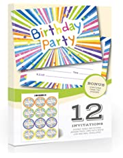 Olivia Samuel 12 x Childrens Birthday Party Invitations with Matching Stickers - A6 Postcard Style - Ready to Write with Envelopes