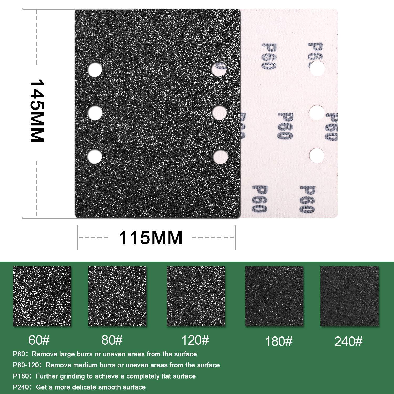 Papier de verre P60//80//120//180//240 120pcs Disques Rectangulaires TECCPO-TASP27A-140 * 115AO Auto-aggripant pour Ponceuse Rectangulaire