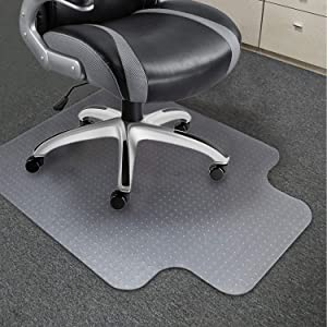 SOUNDANCE Chair Mat for Low Pile Carpeted Floor, Delivered Flat 36 x 48 Inch with Lip, Thick Hard Smooth Heavy Duty Sturdy, Office PC Desk Chair Pad Protector for No or Low Pile Carpet Hardwood Floor