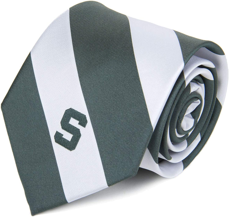 One Size Green NCAA Michigan State Spartans Stripe Necktie