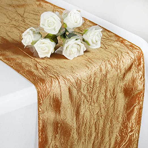 """Ivory TAFETTA CRINKLE 12x108/"""" Table RUNNER Wedding Party Decorations SALE"""
