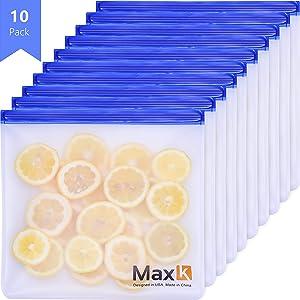 Max K Reusable Ziploc Gallon Size Bags for Freezer, PEVA Food Storage, Kids Snacks, Frozen Fruits, Marinade & Portion Meat, Ziplock Resealable & Leakproof, 10 Pack (10 x Gallon)