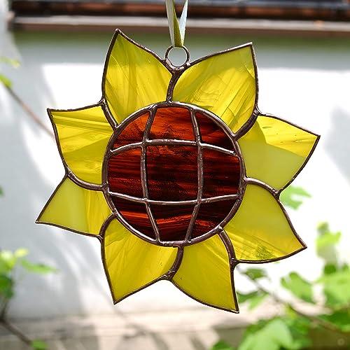 stained glass flowerslag yellow glass suncatcher