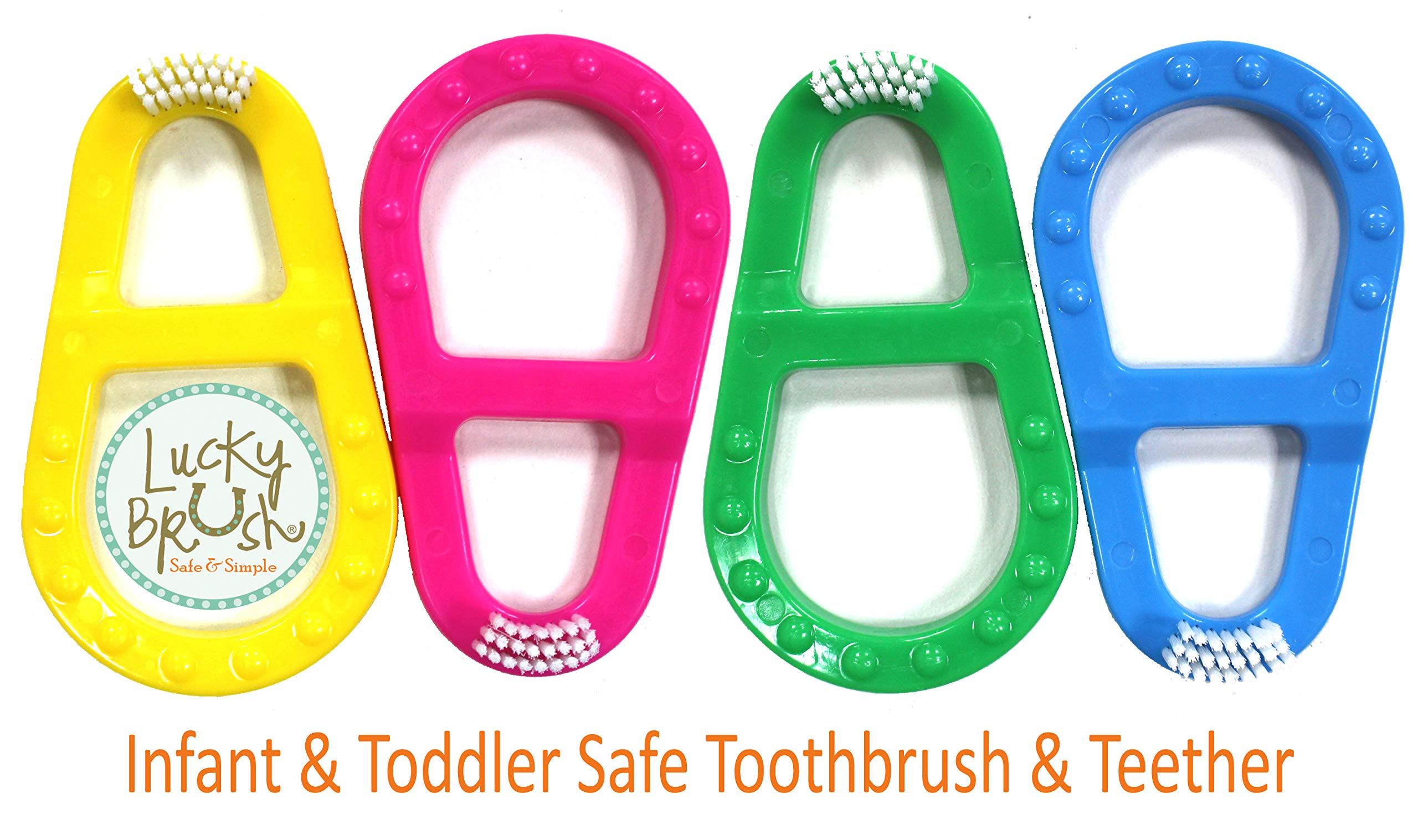 Lucky Brush Baby & Toddler Toothbrush ~ 0-3 years | Soft Bristles Gentle on Infant Gums | Promotes Healthy Oral Habits. (Easy-Grip Teether Keeps Children Safe and Healthy), Set of 4 by LUCKY BRUSH