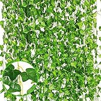 Kettion Plantas Artificiales, 12 Hiedra Vides Artificiales, Falso lvy Hiedra Falsa Hojas Colgando Vegetación Guirnalda…
