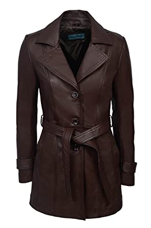 good texture clearance prices high quality materials 'Trench' Ladies Brown Classic Mid-Length Designer Real Nappa Leather Jacket  Coat 2218