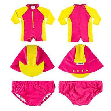 d307398637802 Rashoodz Sunsuit and Swim Diaper 9-12 Month Attachable Hat 6-12 Month Pink