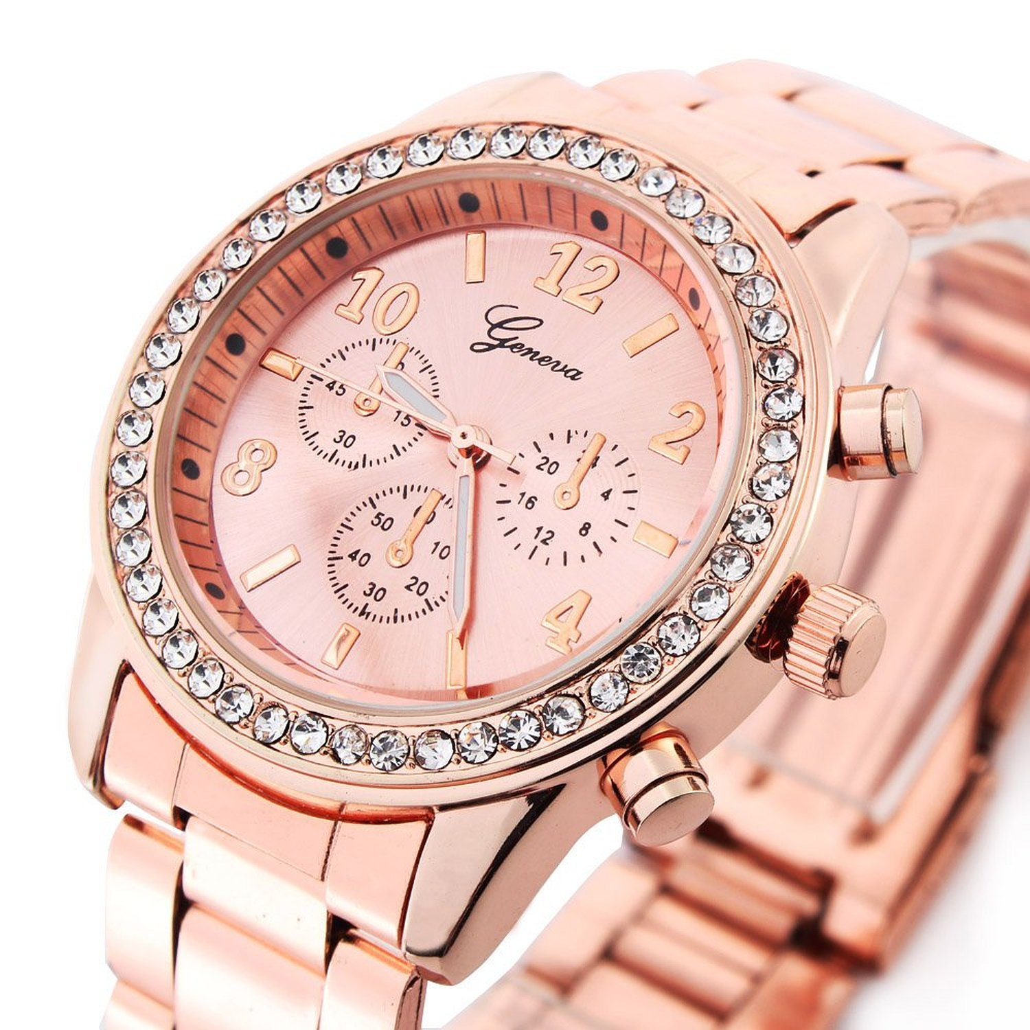 Amazon.com: Rose Gold Plated Classic Round CZ Ladies Watch Women ...
