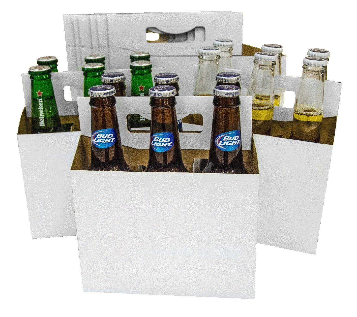 Brown Kraft 150 4 Pack Beer Bottle Holder that fits 12-16oz bottles Sturdy Cardboard Holds six bottles