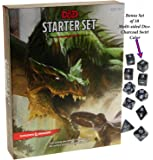 Dungeons & Dragons Starter Set _ with Bonus Charcoal Swirl 10 Piece Dice Set _ D&D Starter Set _ Bundle by Deluxe Games and Puzzles