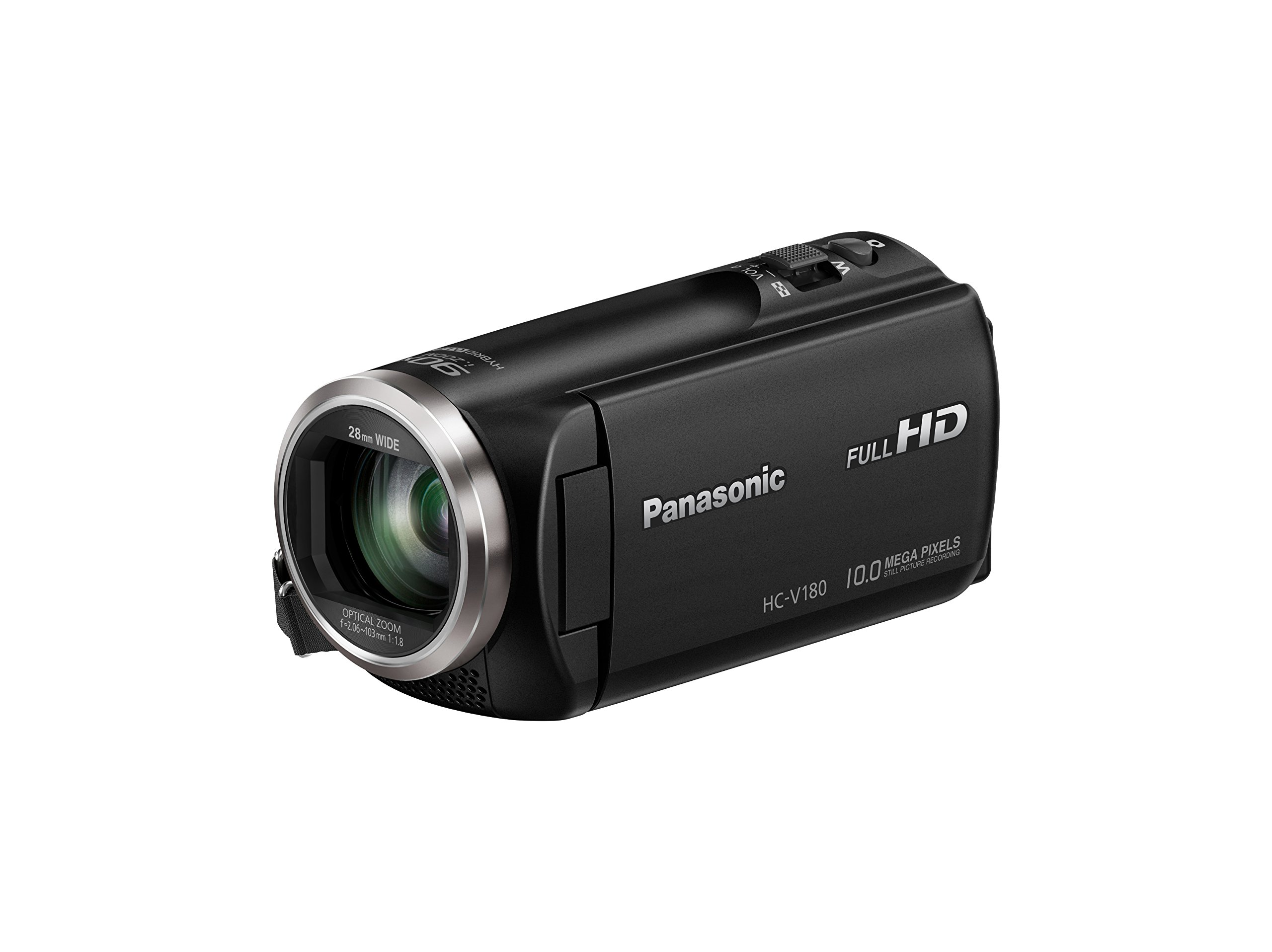Panasonic Full HD Video Camera Camcorder HC-V180K, 50X Optical Zoom, 1/5.8-Inch BSI Sensor, Touch Enabled 2.7-Inch LCD Display (Black) by Panasonic