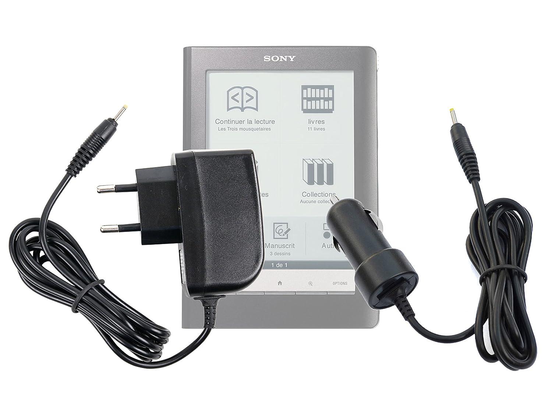 Deux chargeurs (1 Secteur + 1 Voiture) pour liseuse Sony PRS-300 | PRS-600 | PRS-900 | PRS-500 | PRS-505 | PRS-700 - Embout Rond