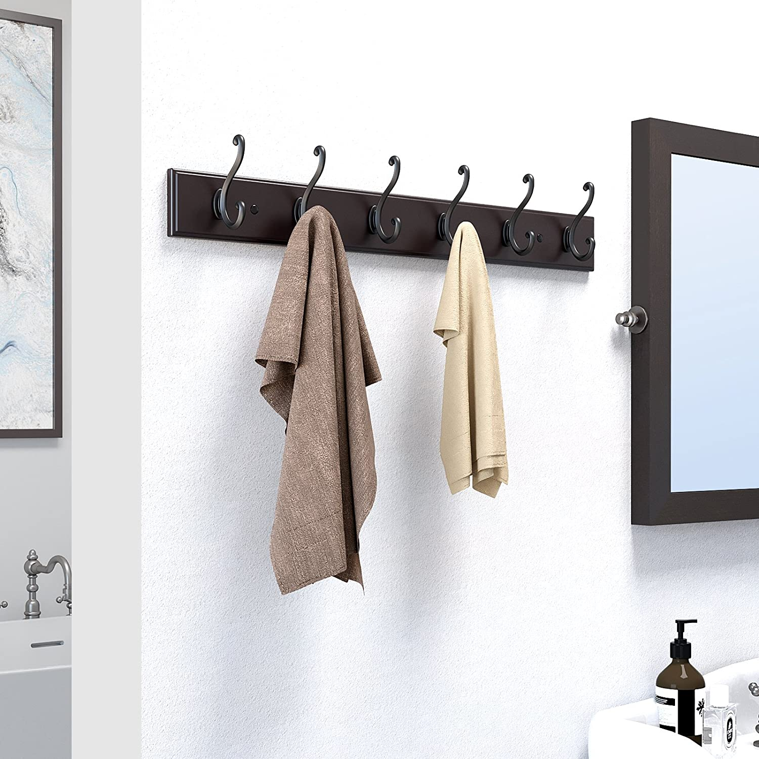 Amazoncom Songmics Wooden Wall Mounted Coat Rack, Hook Rail With