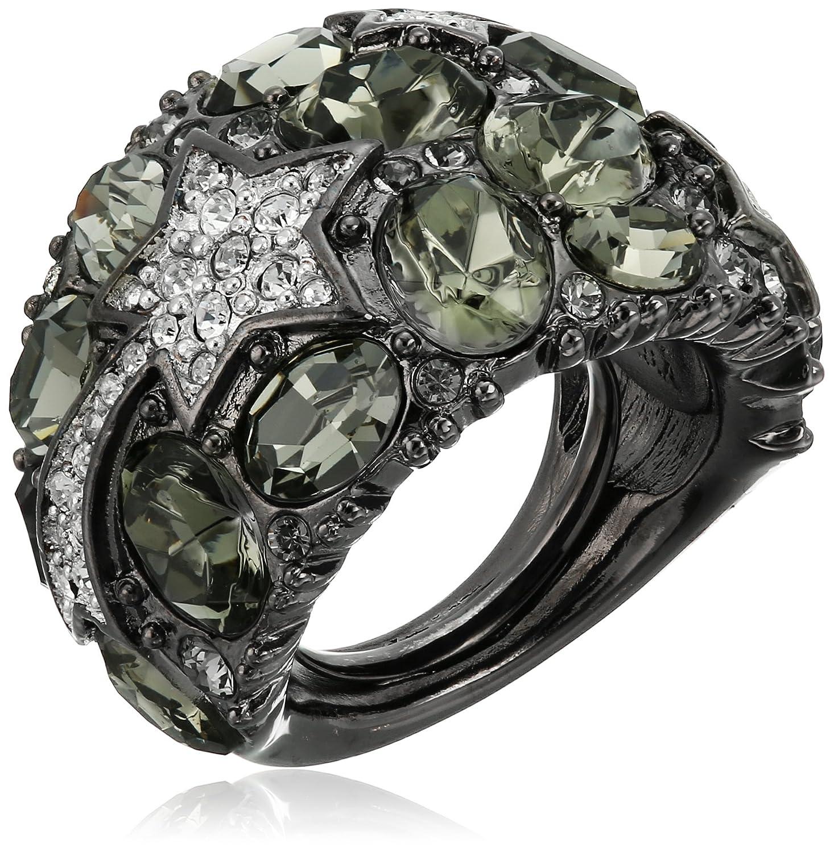 Kenneth Jay Lane Gunmetal, Hematite and Rhinestone Star Dome Ring, Size 5-7 5149RHBDC