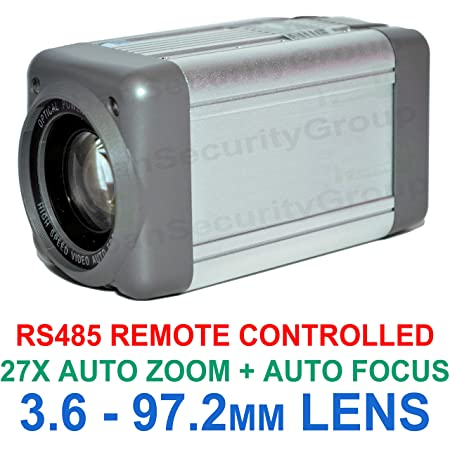 Urban Security Group Analog Box Camera Sony Chipset 700TVL All-in-One 3.6-97.2mm Lens 27x Auto-Zoom Auto-Focus Box Security Camera RS485 Control, Enhanced Effio-E, Low Illumination