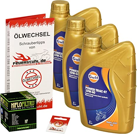 Gulf 10w 40 Öl Hiflo Ölfilter Für Kawasaki En 500 96 02 En500c Eb500ac Ölwechselset Inkl Motoröl Filter Dichtring Auto