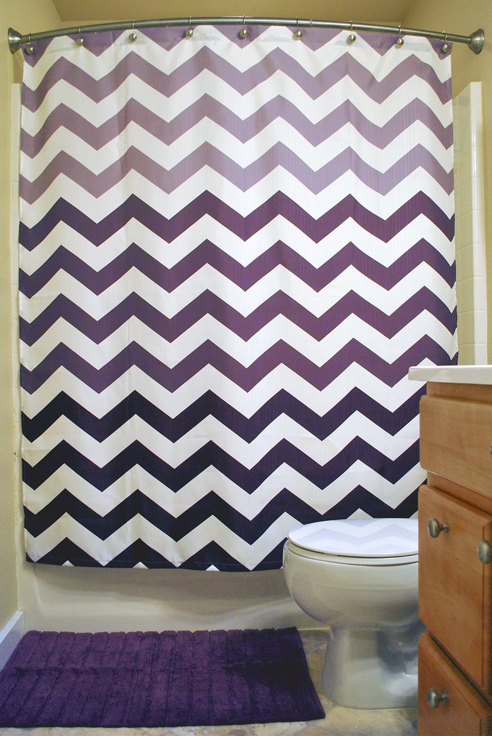 DII Oceanique Shower Curtain 100% Polyester, Machine Washable, for Everyday Use, Kids, Teens, Extra Bathroom, Main Bathroom 72x72, Eggplant Ombre Chevron