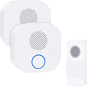 Wireless Doorbell,Waterproof Door Bells & Chimes Wireless Kit Operating at 300M/1000FT,38 Chimes,4 Volume Levels & LED Flash,DIY Name Plate Suitable for Home Office Classroom,98283x2+90062.