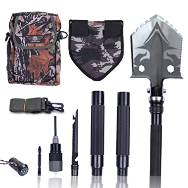 Otplore Folding Tactical Camping Shovel - Heavy Duty Compact Multitool Military Survival Shovel for Camping Backpacking Hiking Car Emergency, 32
