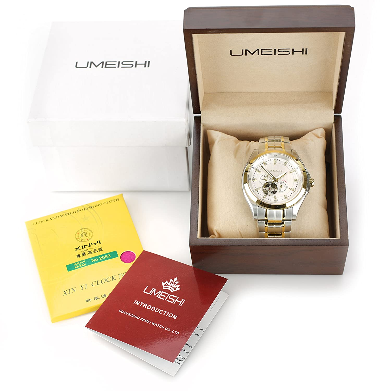 Amazon Com Umeshi Japanese Men S Chronograph 18k Gold Ion Plated