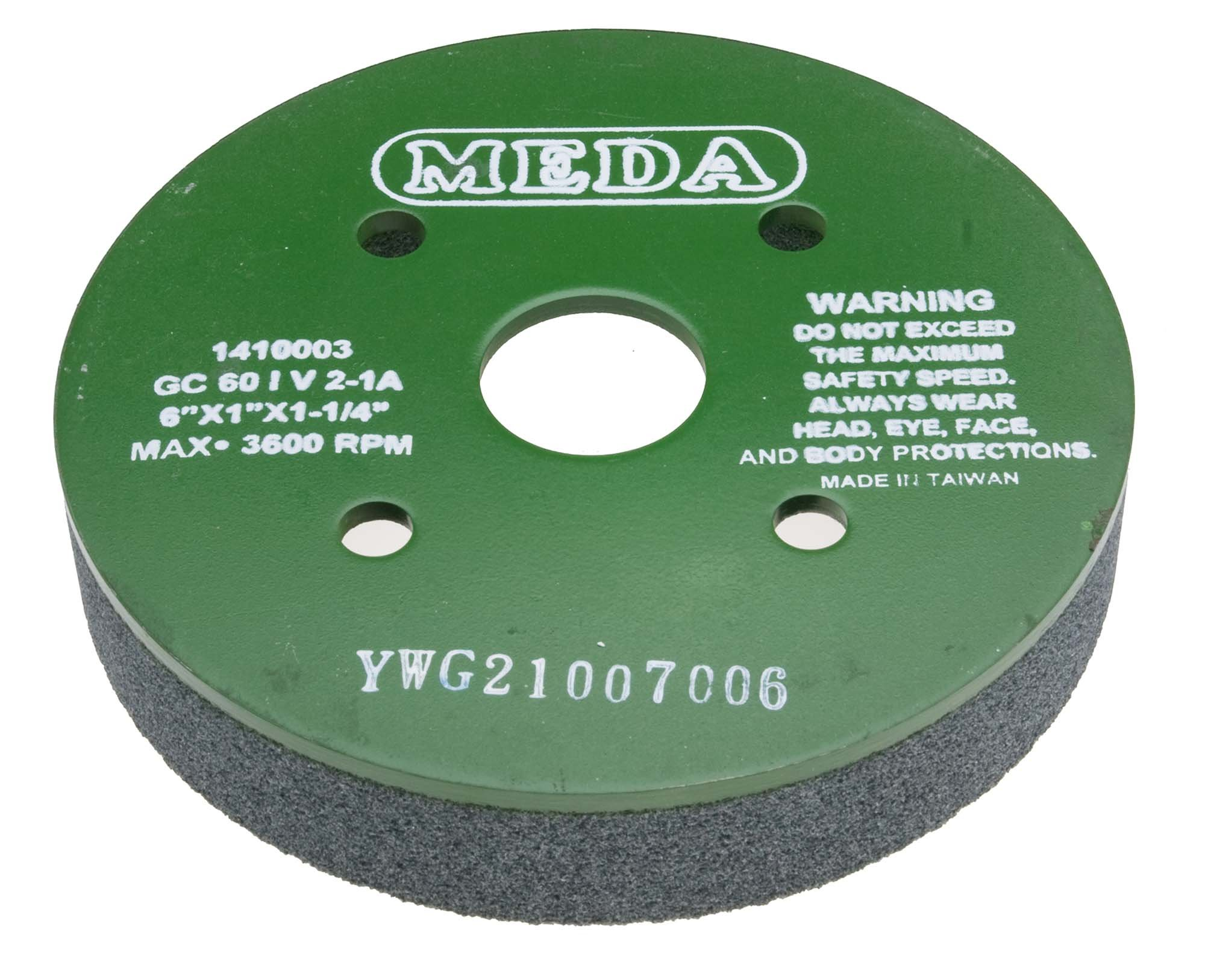 Meda 6 x 1 x 1-1/4, 60I (Coarse) Plate Mounted Silicon Carbide Green Grinding Wheel by Meda Grinding Wheels