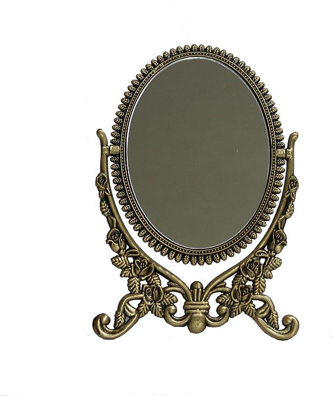 Vintage Victorian Brass Fan Shaped Standing Vanity Mirror
