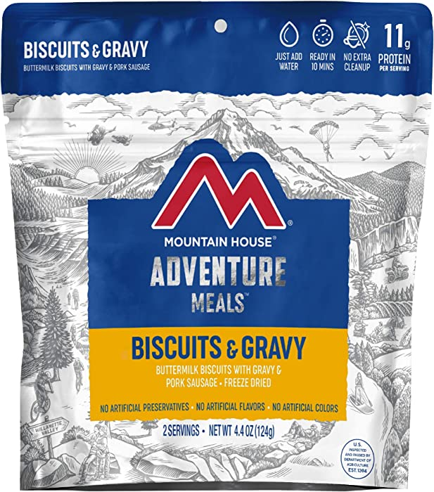 Mountain House Biscuits & Gravy | Freeze Dried Backpacking & Camping Food | Survival & Emergency Food