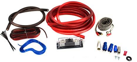 bullz audio 4 gauge 3000w professional car amplifier wiring amp kit red bpe4r Two Channel Amp Wiring