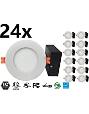 EBOKA, LED Slim Panel, Pot Light, LED Recessed Light, 4 inch, 9W, 700 lm, Dimmable, W/Metal Junction Box, Driver, IC Rated, (3000K Warm White) (3000k -x24 Pack)
