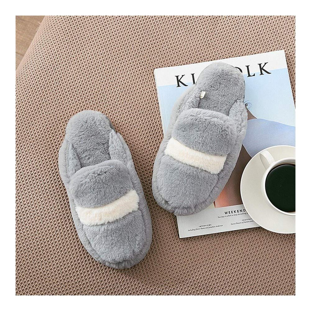 HOUSEHOLD Slippers Hardwearing Light Weight Casual Indoor Shoes Slippers Easy Close Wide Fitting Light Weight House Shoes Slipper Washable Casual Comfortable Cotton Slippers (Color : Gray -L) by HOUSEHOLD