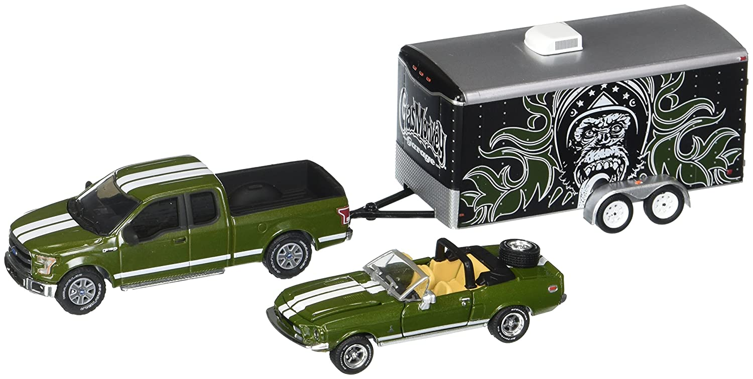Greenlight 1 64 Hitch Tow Hollywood Gas Monkey 1970 Dodge Truck Garage 3piece Set Diecast Vehicle Toys Games