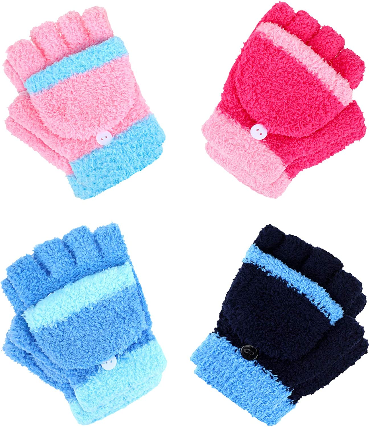 4 Pairs Convertible Fingerless Glove Warm Fleece Knitted Glove with Cover for Kids (Black, Light Blue, Pink, Rose Red)