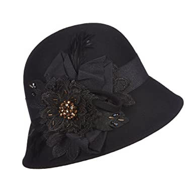 1497f1f26d4 CALLANAN CLOCHE WITH FLOWERS HAT (BLACK) at Amazon Women s Clothing store