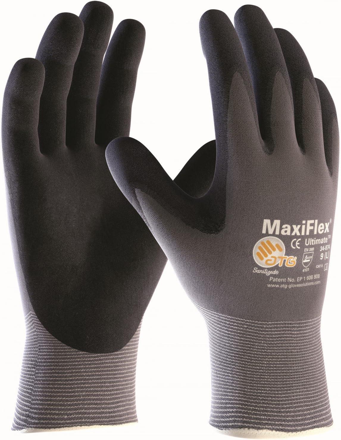 Tama/ño:6 5 Pares MaxiFlex Ultimate Guantes de Nylon y Espuma de nitrilo XS