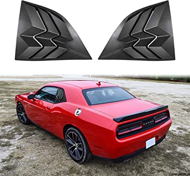 ABS Rear and Side Window Louvers in Matte Black Sun Shade//Rain//Windshield Cover for Dodge Challenger 2008-2019