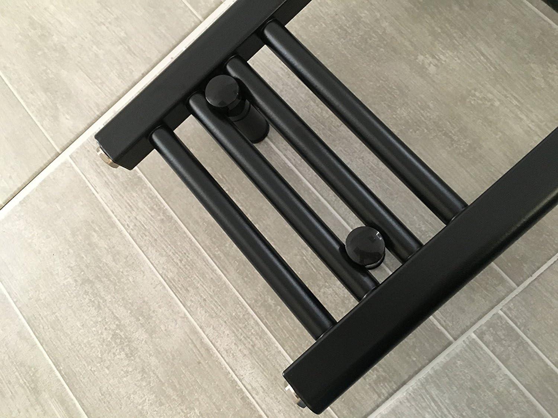 600 x 800 mm hoch Zentralheizung Handtuchheizk/örper Schwarz 600 mm breit flach f/ür stilvolles Badezimmerw/ärmer