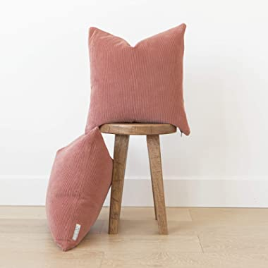 Woven Nook Decorative Corduroy Throw Pillow Covers ONLY Set of 2 18x18'' and 22x22'' for Couch, Sofa, or Bed Modern Quality Design Corduroy (22'' x 22'', Dusty Rose)