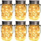 GIGALUMI Hanging Solar Mason Jar Lid Lights, 6 Pack 30 Led String Fairy Lights Solar Laterns Table Lights, 6 Hangers and…