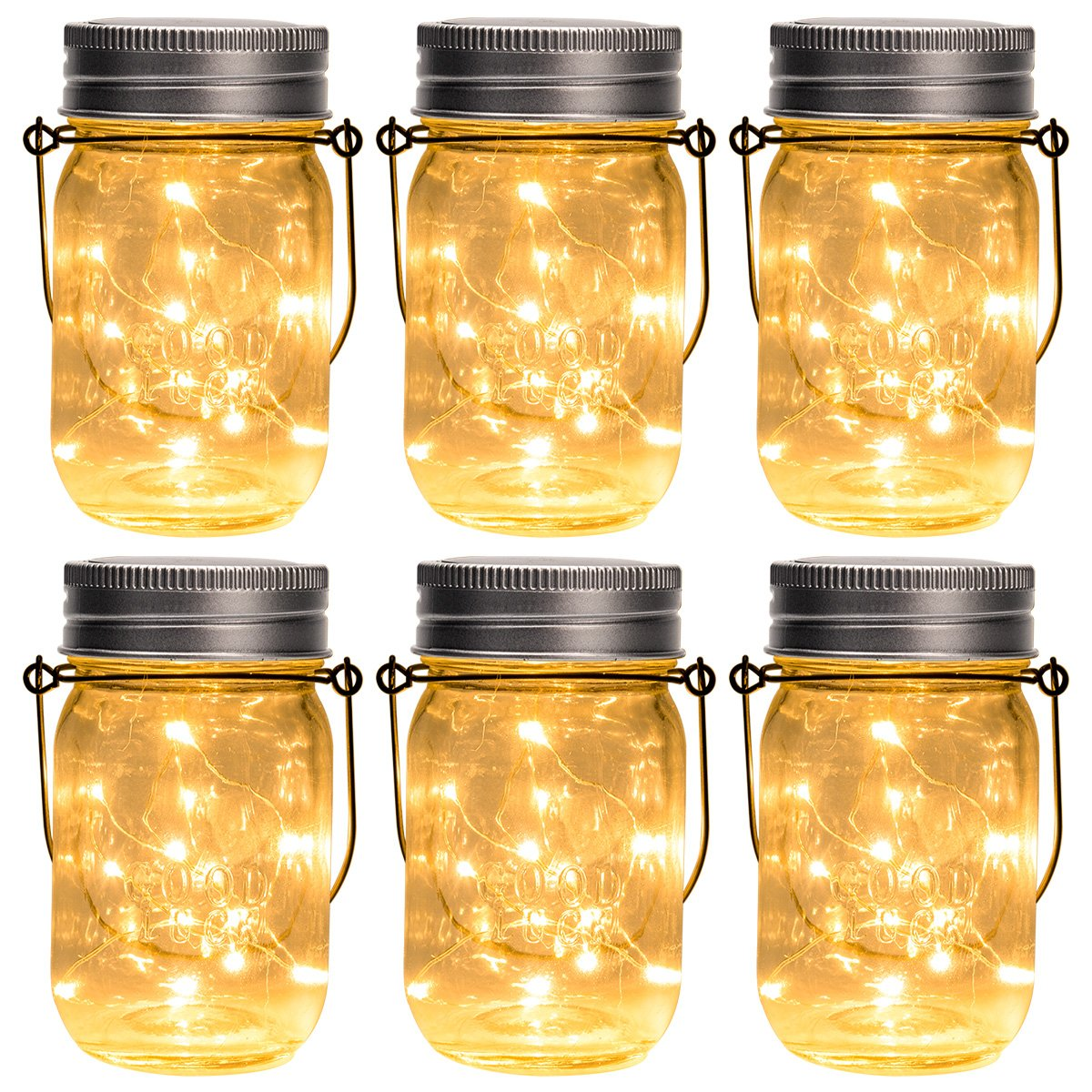 GIGALUMI Hanging Solar Mason Jar Lid Lights, 6 Pack 15 Led String Fairy lights Solar Laterns Table Lights, 6 Hangers Jars included. Great Outdoor Lawn Décor Patio Garden, Yard Lawn.