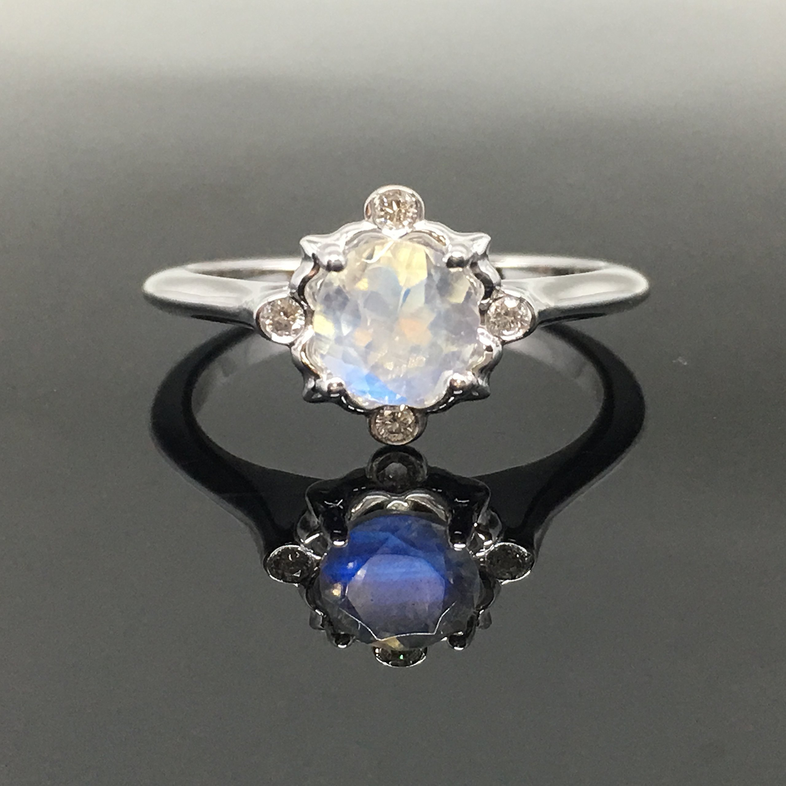 Moonstone Engagement Ring - .925 Sterling Silver Victorian Moonstone Engagement Ring - Vintage Inspired Moonstone Ring - Rainbow Moonstone Ring
