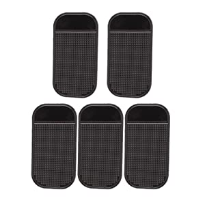 Merssavo 5 pieces Tapis anti-derapants Support de voiture Silicone Noir pour Telephone Portable